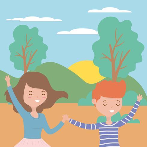 Teenager boy and girl cartoons design.