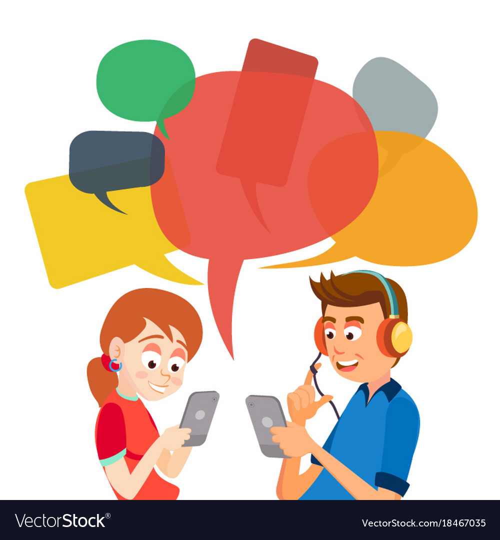 Teen girl and boy messaging communicate on.