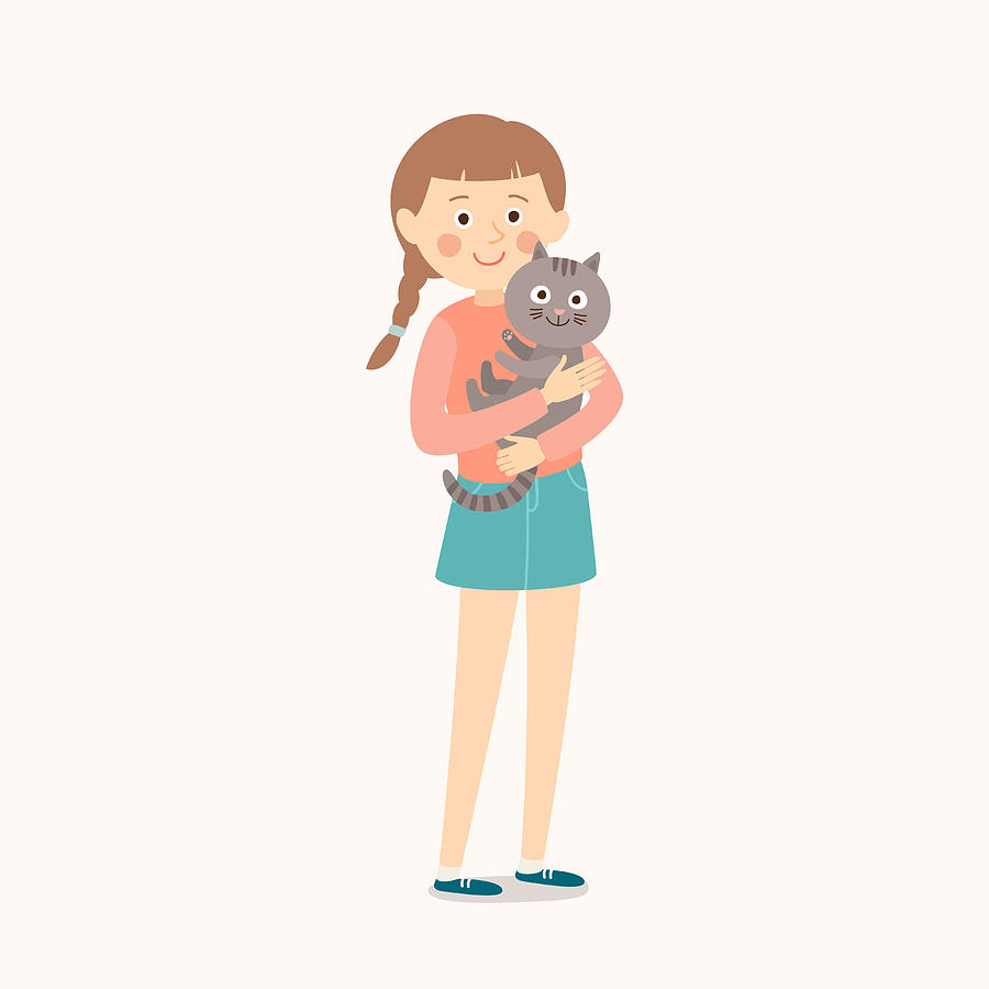 Happy Child With A Cat. Teenage Girl With Her Cat. Best Friends. Cartoon  Vector Clip Art Illustration On White Background. by CrazyStripes.