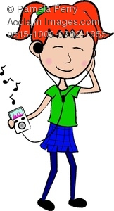 Clip Art Illustration of a Red Haired Teenage Girl Listening.