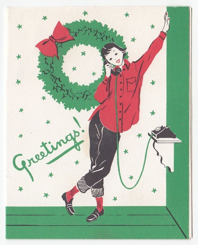 Details about Vintage Mid Century Christmas Greeting Card.