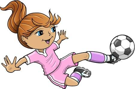 Cartoon Girl Playing Soccer Free Download Clip Art.