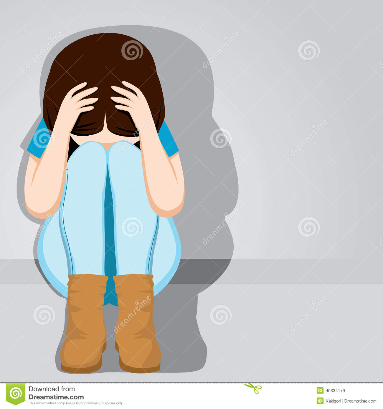 Teenage Girl Crying Clipart.