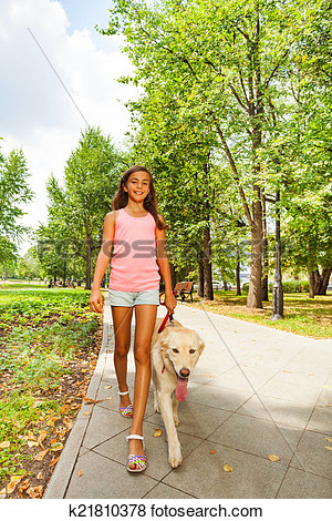 Teenage Girl Walking Dogs Clipart.