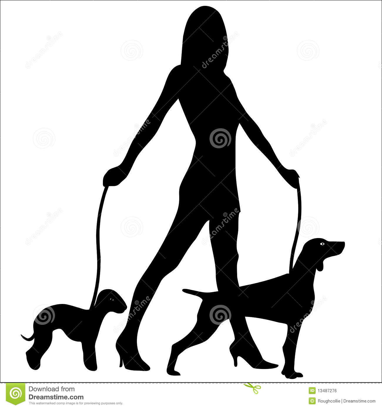 Teenage Girl Walking Dogs Clipart Black And White.