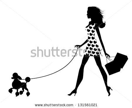 Woman Walking Dog Silhouette. EPS 8 vector, grouped for easy.