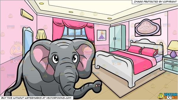 An Elephant Walking Around At The Zoo and A Bedroom Of A Teenage Girl  Background.