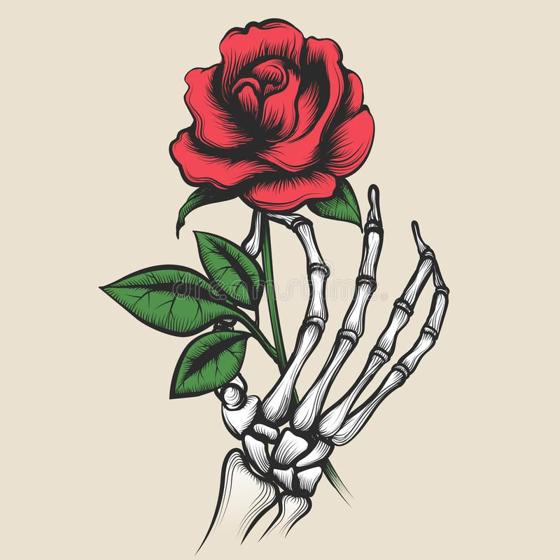 Skeleton Hand With Rose Tattoo Style Stock Vector.