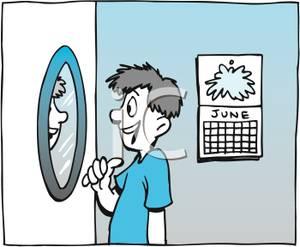 A Teenage Boy Admiring Himself In the Mirror.
