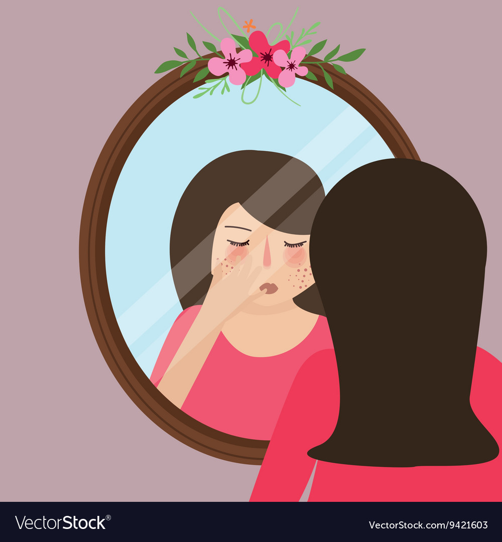 Girls with acne pimple looking into mirror skin.