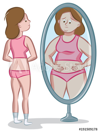 Teenage girl looking at her distorted body image in the.