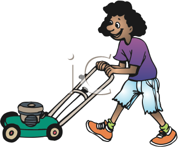 Royalty Free Clipart Image of a Girl Mowing the Lawn #279122.