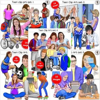 Teen Clip Art BUNDLE! Realistic teenager clip art..