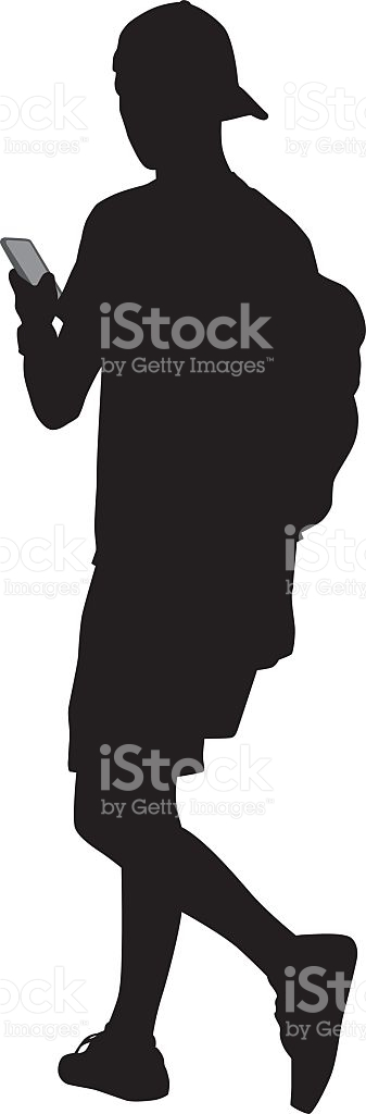 Teenager Walking With Smart Phone stock vector art 605755680.