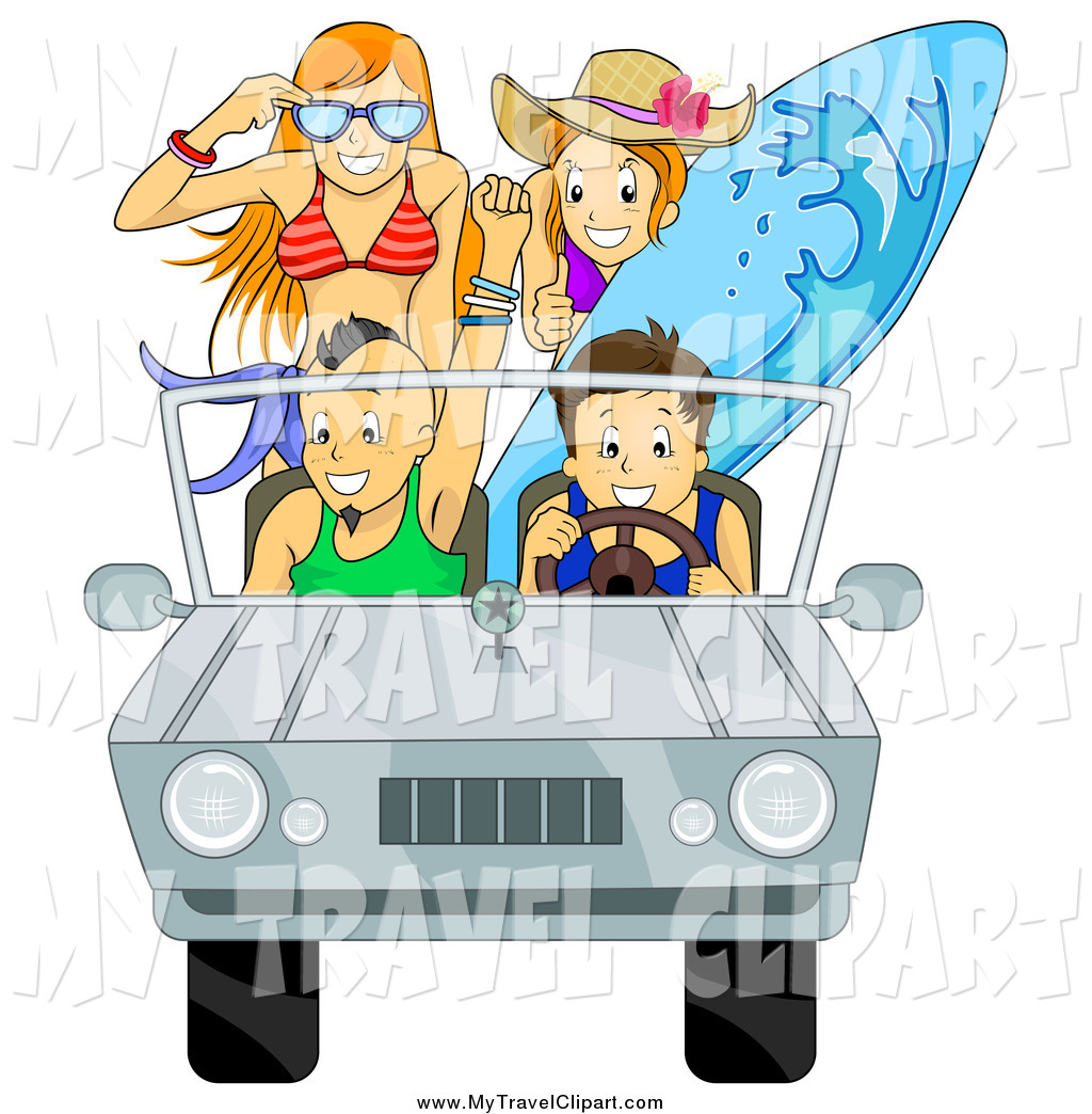 Clipart of a Car Full of Happy Summer Teens Going to the.