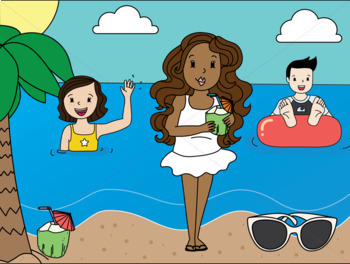 Summer Kids Clip Art: At The Beach Clipart.