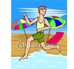 Teen Running on the Beach.