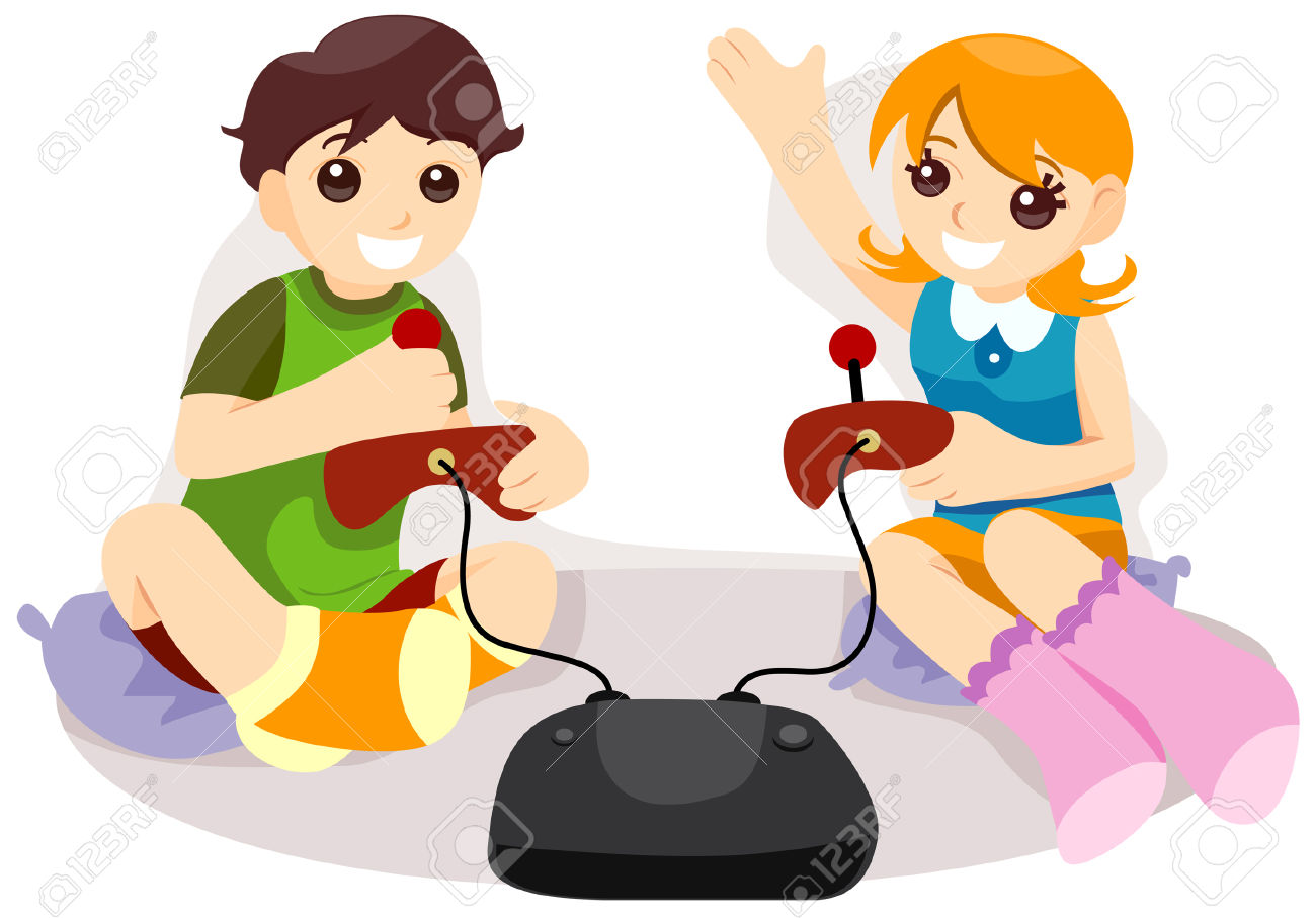 Girl Playing Video Games Clipart.