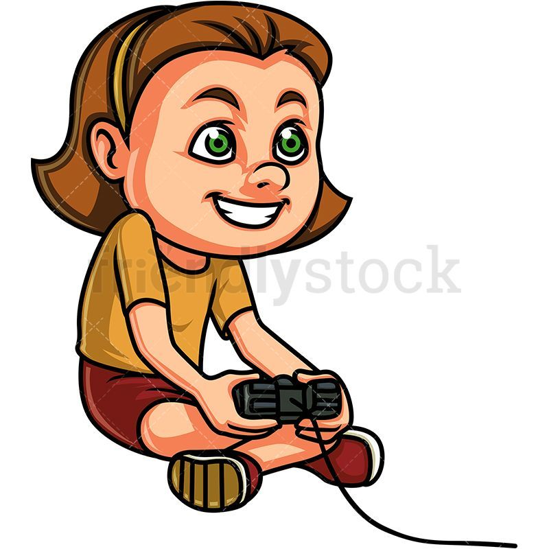 Little Girl Playing Video Games Cartoon Clipart Vector.