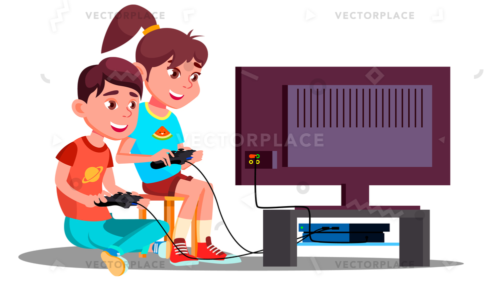 Boy And Girl Playing Video Games Together Vector. Illustration.