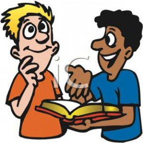 Teenagers Reading Clipart.