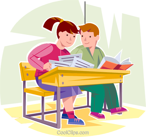 Students doing work in class Royalty Free Vector Clip Art.