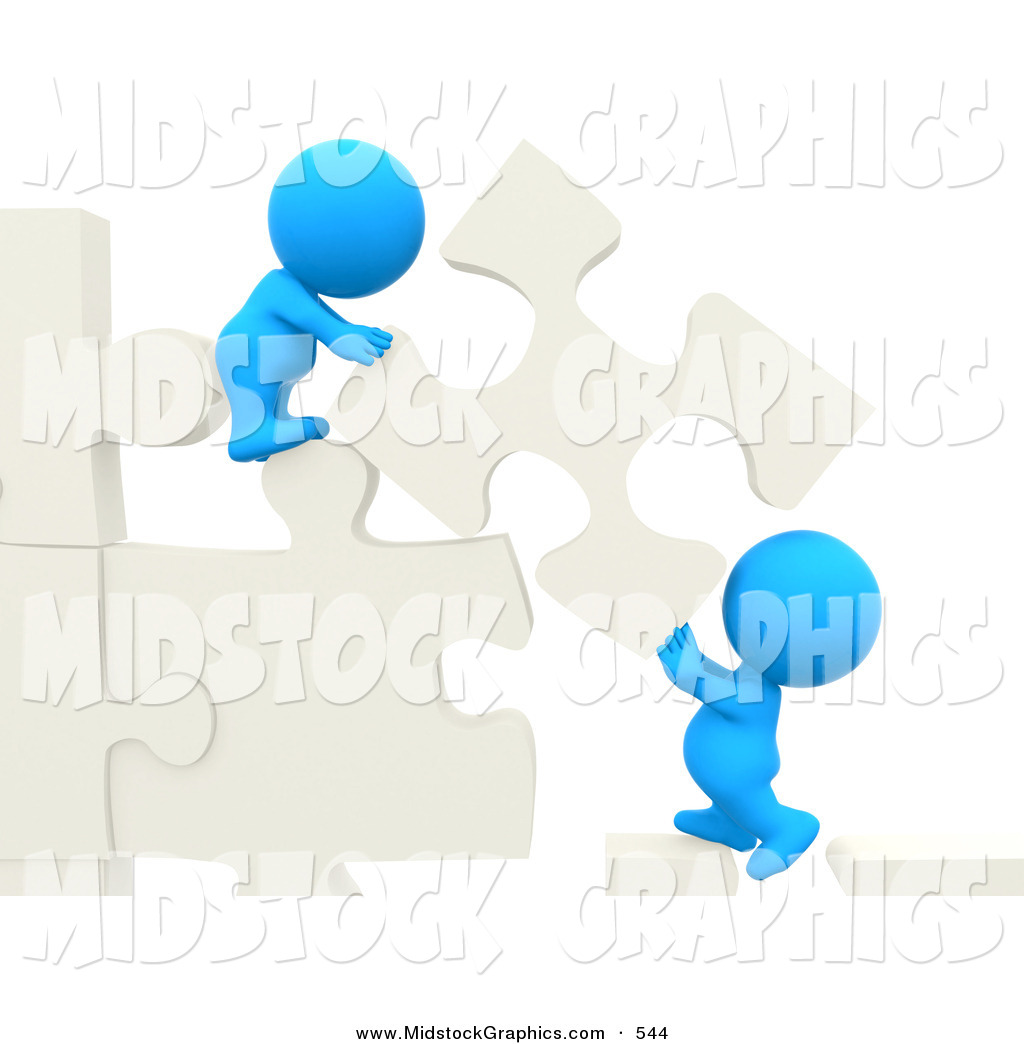 Clip Art of 3d Teeny People Moving Puzzle Pieces to Make a Wall on.