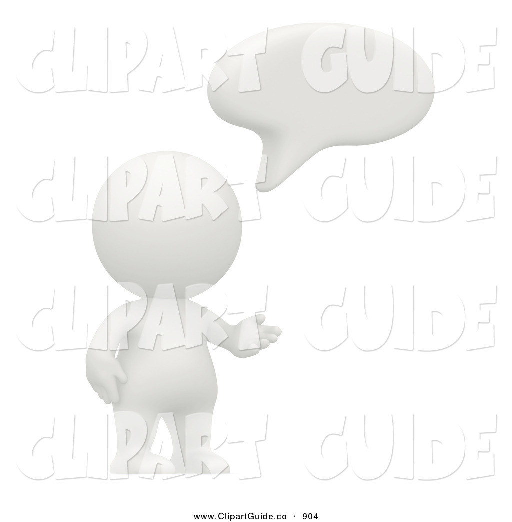 Clip Art of a 3d White Teeny Person Saying Something with a Speech.