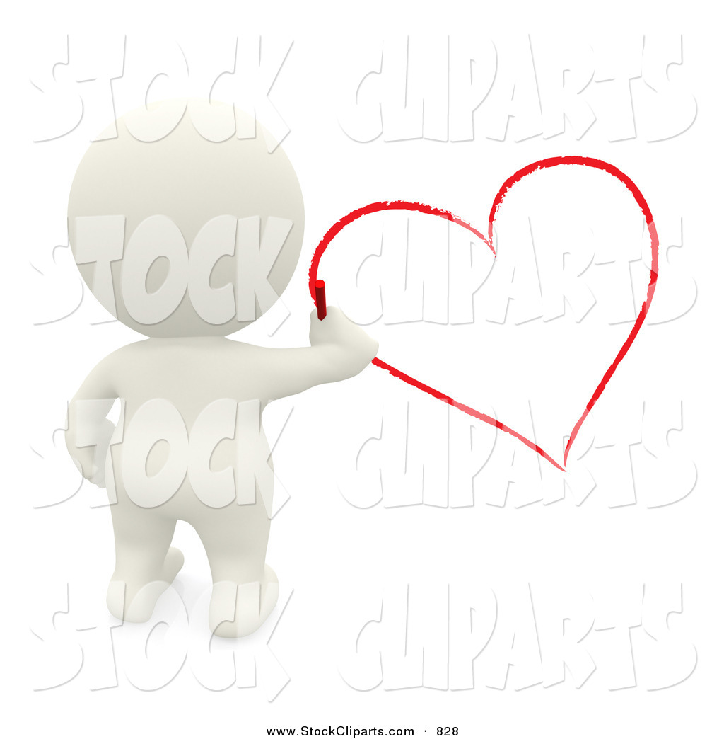 3D Clip Art of a 3d Teeny Man Drawing a Red Heart by Andresr.