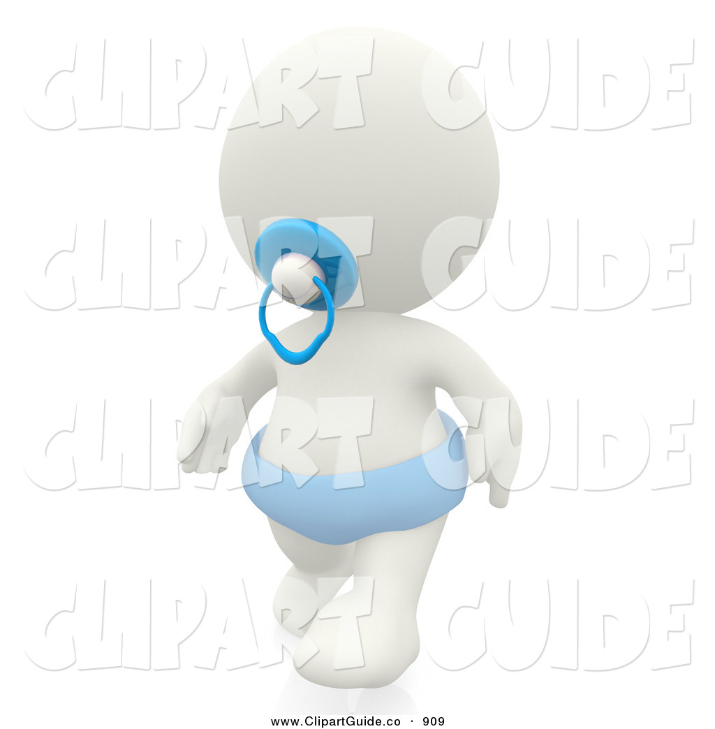 Clip Art of a 3d White Teeny Person Baby with Blue Pacifier and.