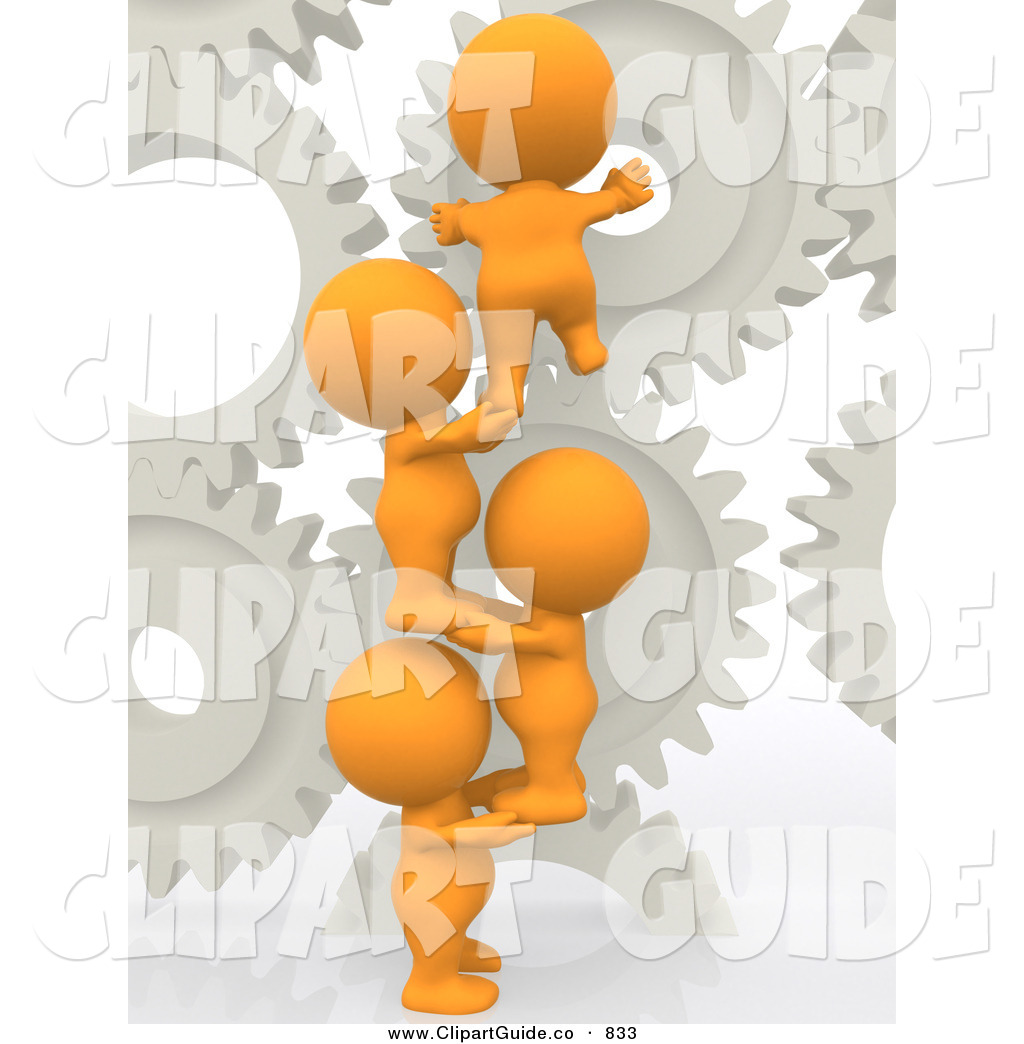 Clip Art of a 3d Teeny People Working with Gears over White by.