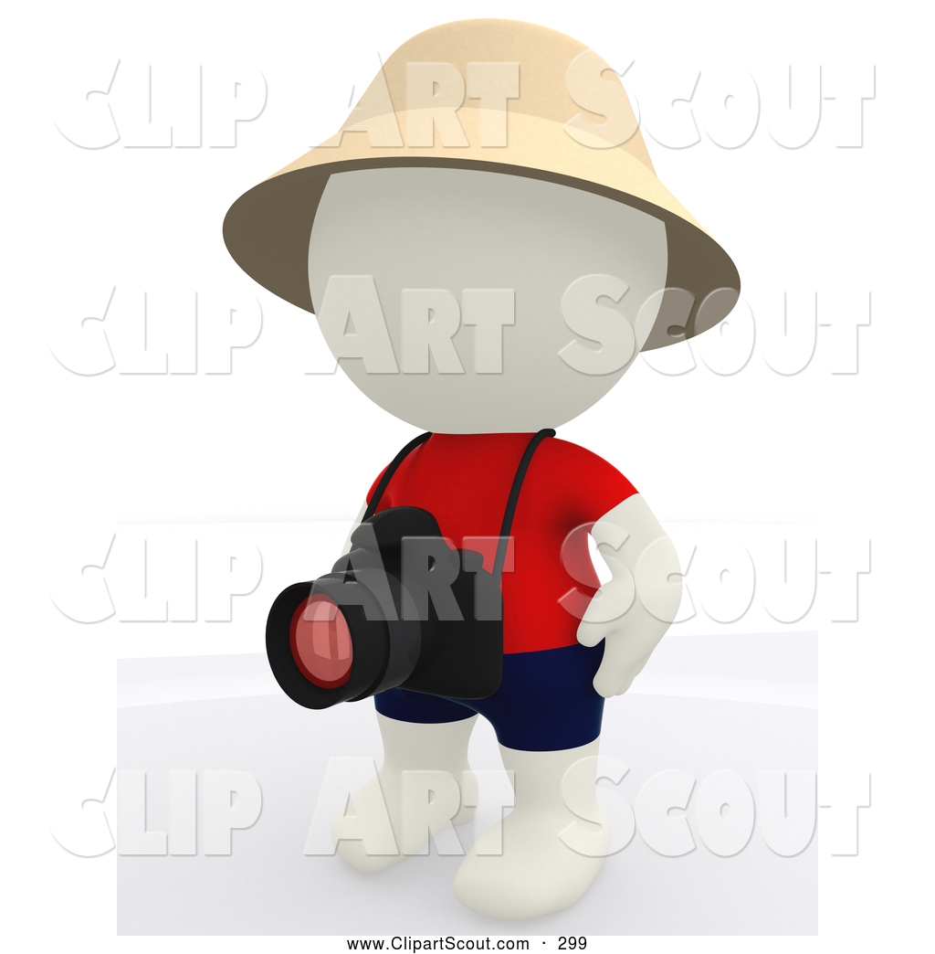 Clipart of a 3d Teeny White Person Tourist with His Camera Ready.