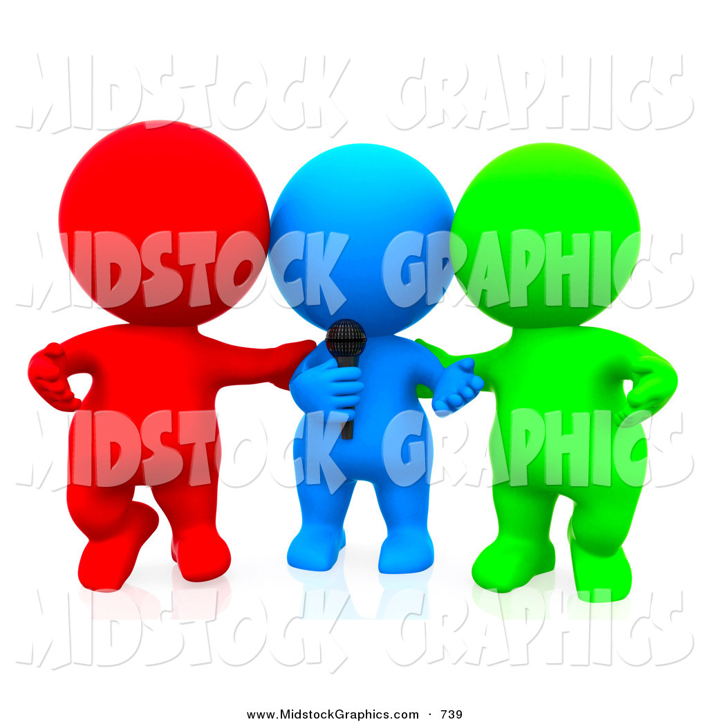 Clip Art of a 3d Teeny People Singing Karaoke on White by Andresr.