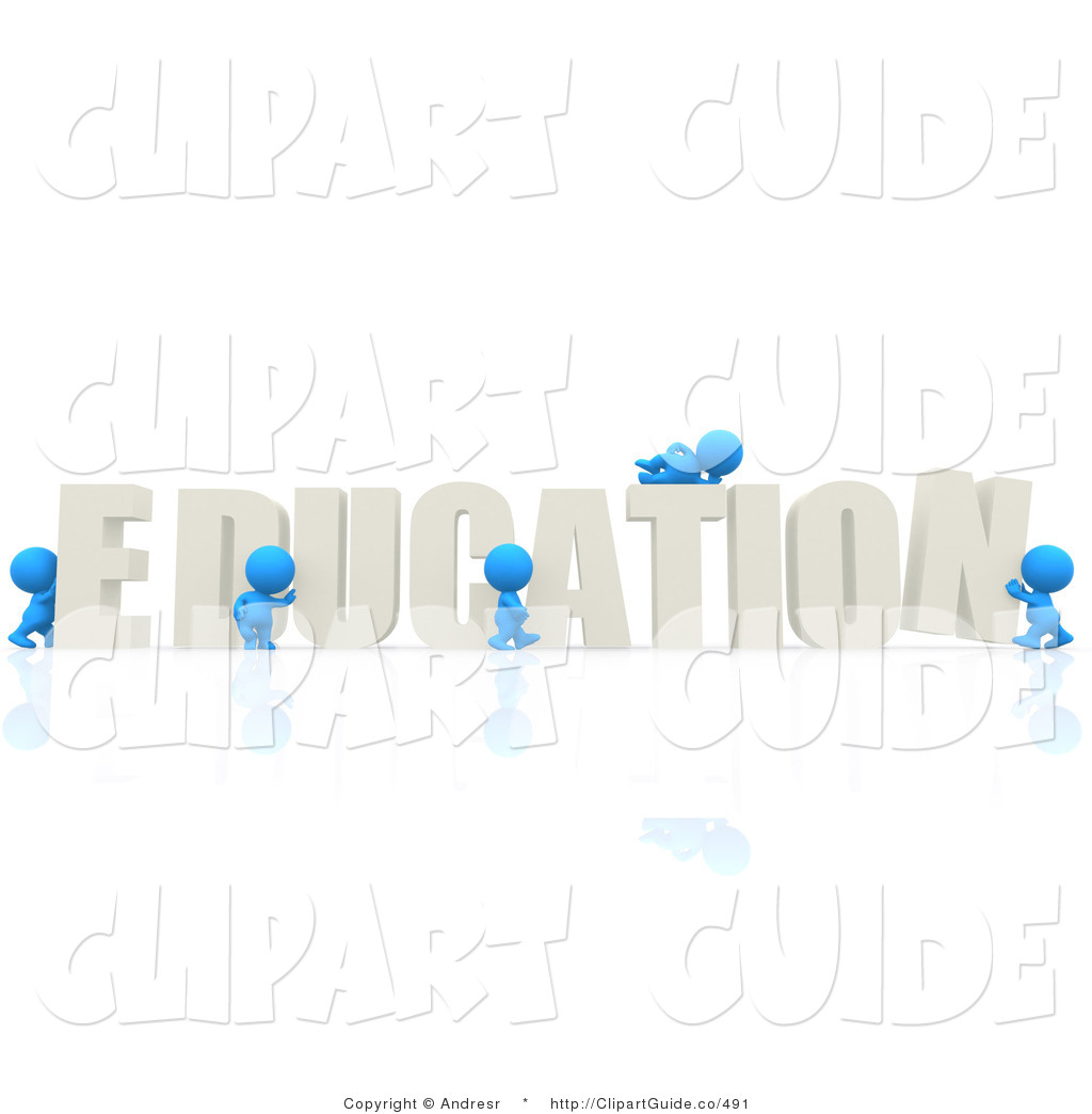 Clip Art of a 3d Teeny People Assembling the Word EDUCATION on.