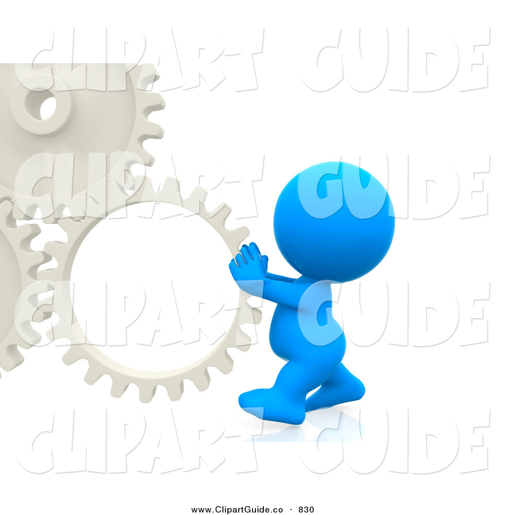 Clip Art of a 3d Teeny Man Pushing a Gear Cog by Andresr.