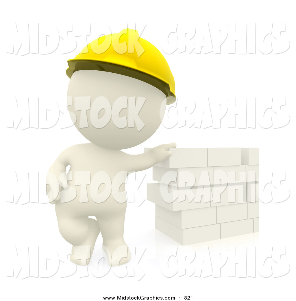 Clip Art of a 3d Teeny Person Construction Worker Leaning Against.