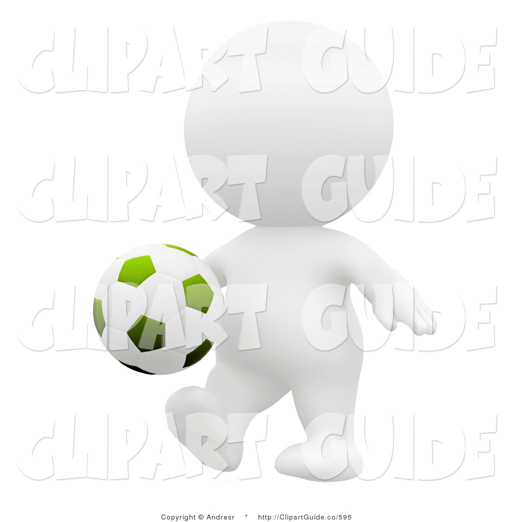 Clip Art of a 3d Teeny Person with a Soccer Ball, About to Kick.