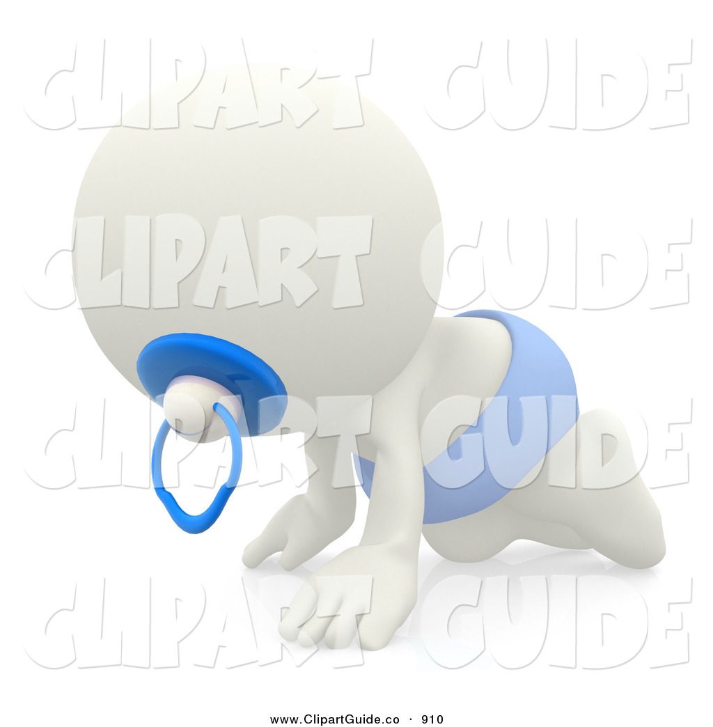Clip Art of a 3d White Teeny Person Baby Boy Crawling with Blue.