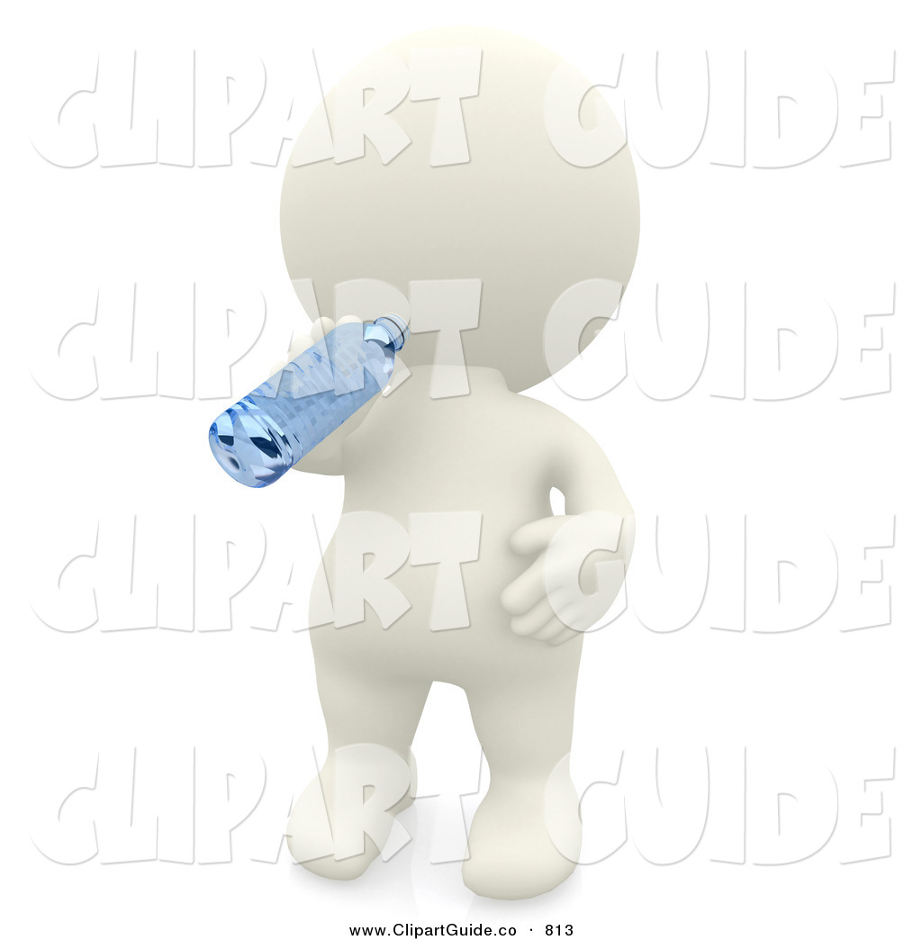 Clip Art of a 3d Teeny Person Drinking from a Water Bottle and.