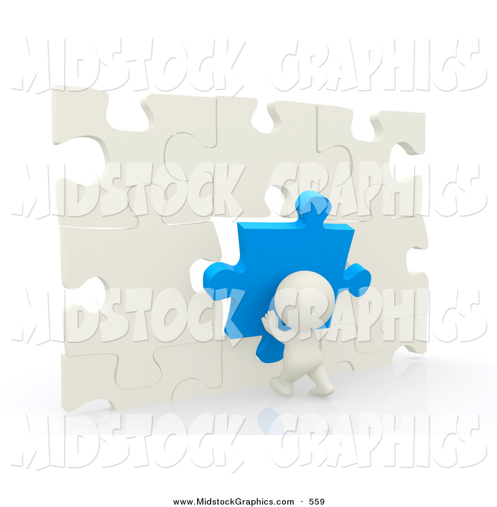 Clip Art of a 3d Teeny Person Moving Puzzle Pieces to Make a Wall.
