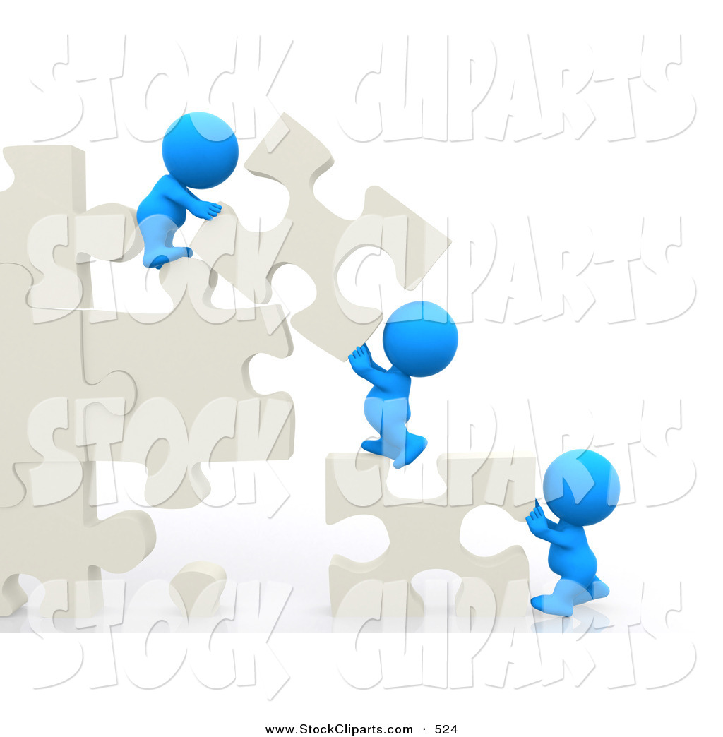 3d Clip Art Of 3d Teeny People Moving Puzzle Pieces And Making A.