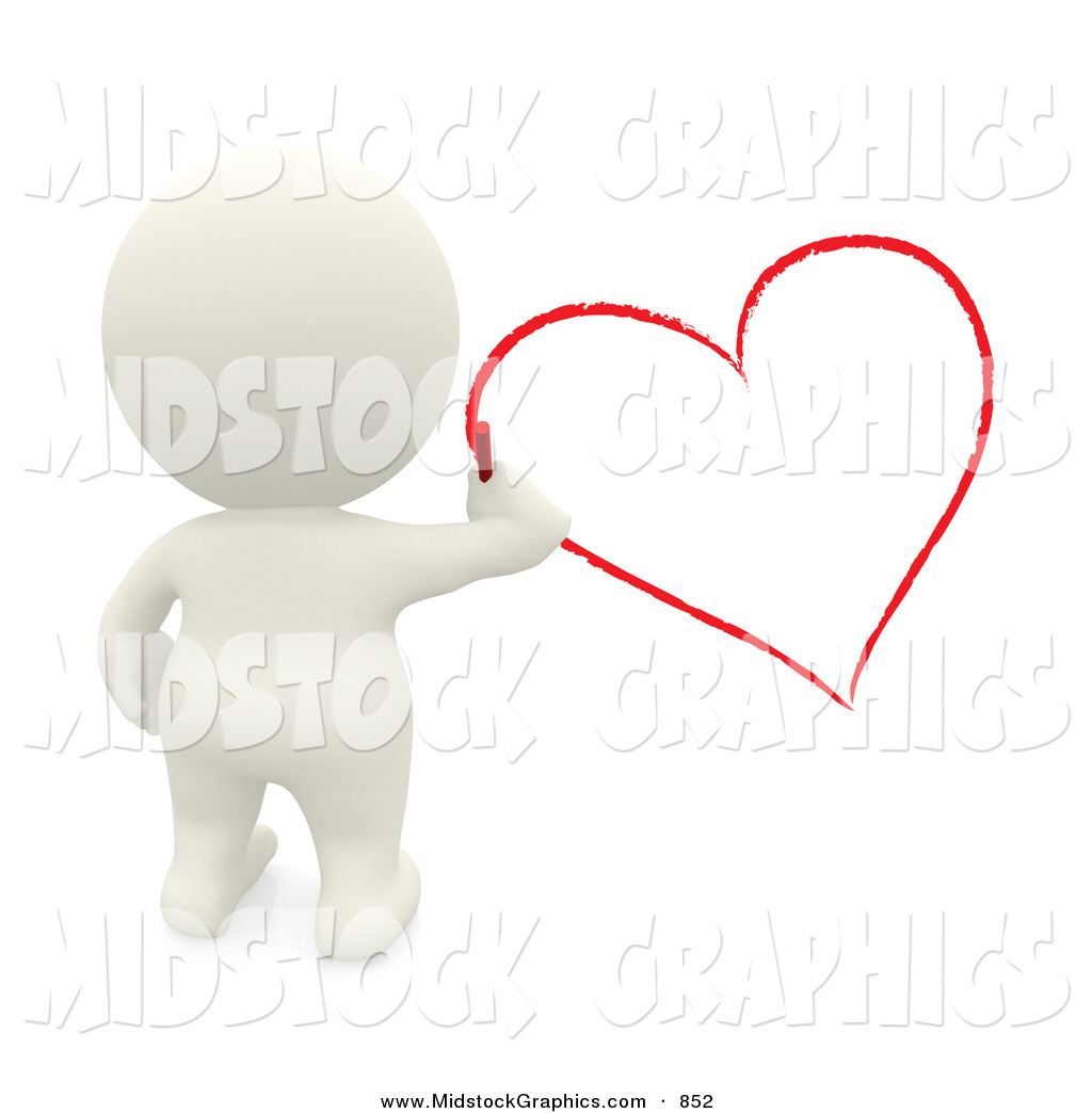 Clip Art of a 3d Teeny Man Drawing a Red Heart on the Wall by.
