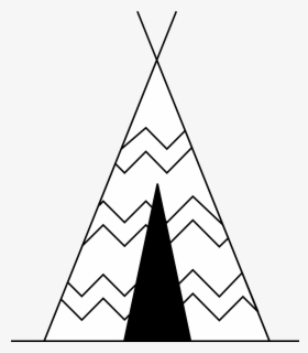 Free Teepee Black And White Clip Art with No Background.
