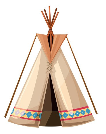 Teepee with wooden sticks poles Clipart Image.