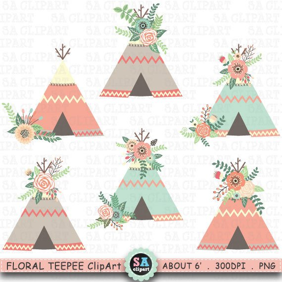 Floral Teepee ClipArt \