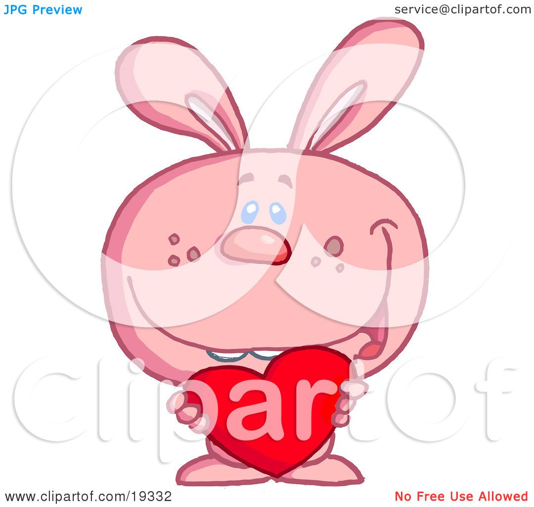 Clipart Illustration Of A Romantic Pink Valentine's Day Bunny.