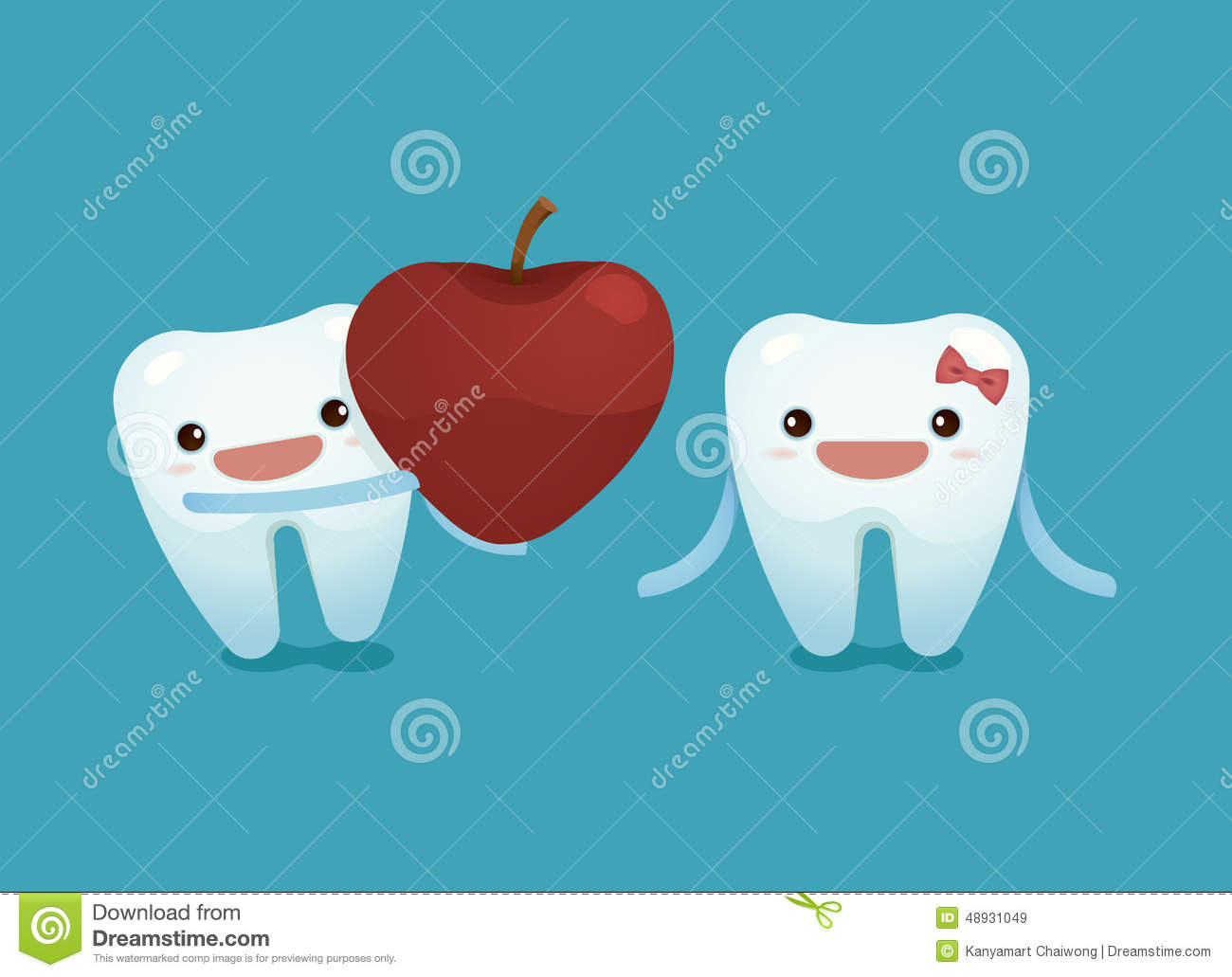 Tooth Boy Provide A Heart Apple For Tooth Girl On Valentine's Day.