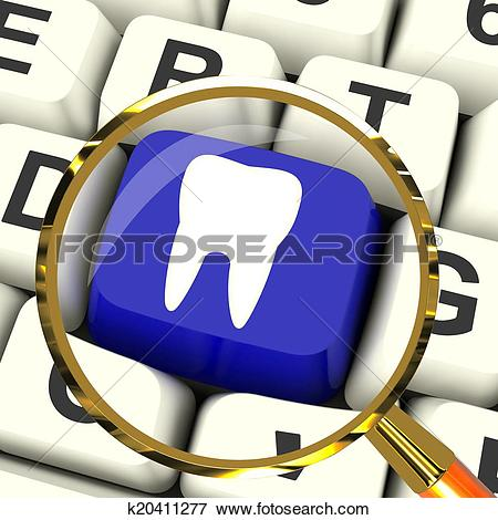 Stock Illustration of Tooth Key Magnified Means Dental Appointment.