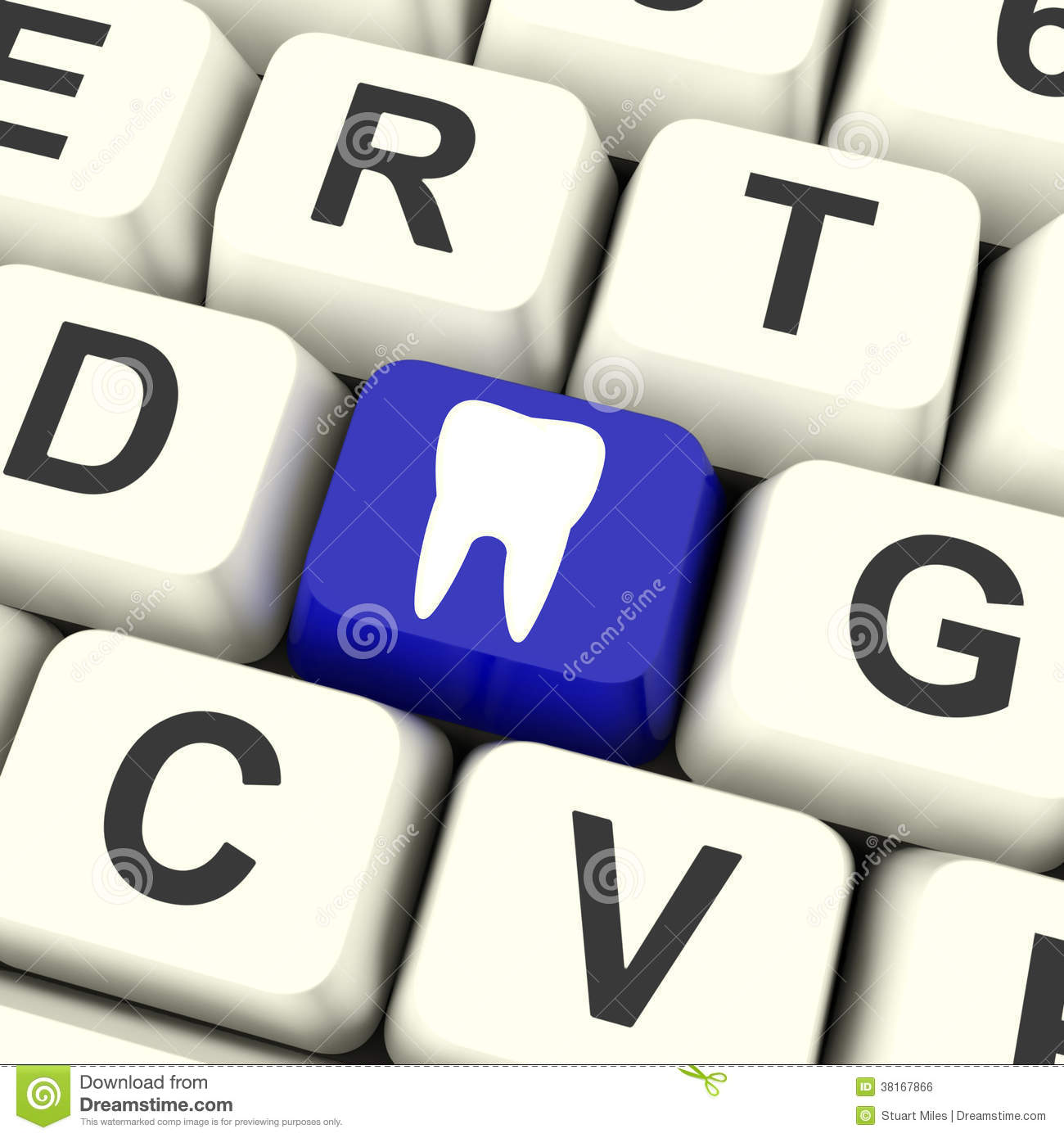 Tooth Key Means Dental Appointment Or Teeth Royalty Free Stock.