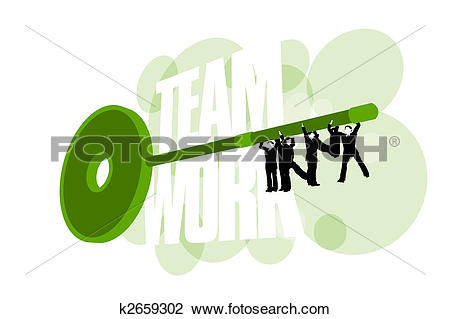 Clip Art of Businessmen work together to create the teeth of a key.